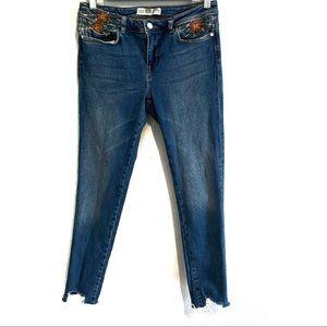 Zara floral embroidered raw hem denim jeans, 6